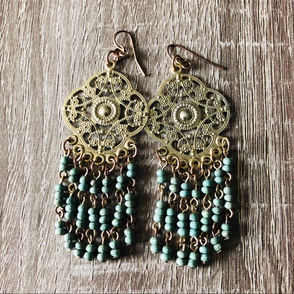 Jewelry - ✨ Aztec style gold and teal earrings ✨